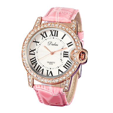 Damen Armbanduhr Japanisch Imitation Diamant PU Band Glanz / Modisch Weiß / Rosa