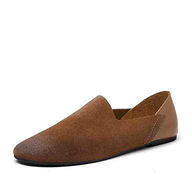 Homens sapatos Pele Napa Primavera / Verão / Outono Conforto / Solados com Luzes Mocassins e Slip-Ons Caminhada Preto / Marron