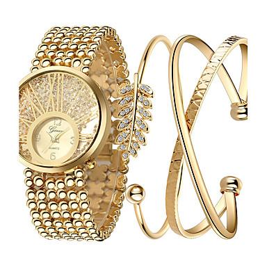 baratos Relógios Senhora-Mulheres Relógios Luxuosos Relógio de Pulso Relogio Dourado Quartzo Aço Inoxidável Dourada Legal Analógico senhoras Amuleto Luxo Brilhante Pontos - Cor Ecrã