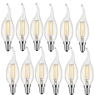 12pcs 2W 190lm E14 Lâmpadas de Filamento de LED CA35 2 Contas LED COB Decorativa Branco Quente 220-240V