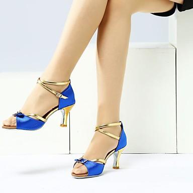 les femmes en amérique latine en tissu sandale / / / talon de chaussures en cuir et des chaussures de danse boucle talon cubaine noir - bleu / rendeHommes t b0d74f