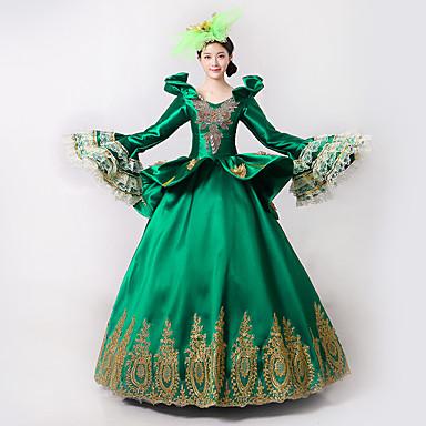 Princesa Deusa Vestidos Fantasias de Cosplay Baile de Máscara Vestido de Baile Mulheres Rococó Medieval Renascentista Festa Baile de Formatura Natal Dia Das Bruxas Carnaval Festival / Celebração