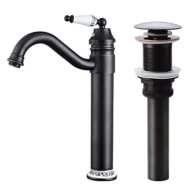 Faucet Set - Separada / Rotativo Bronze Polido a Óleo Conjunto Central Monocomando e Uma AberturaBath Taps