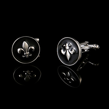 Forma Geométrica Preto Botões de Punho Cobre Caixas de presente e Bolsas / Fashion Homens Jóias de fantasia Para