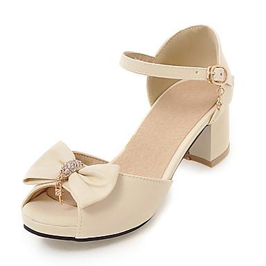 Mulheres Sapatos Couro Ecológico Verão Outono D'Orsay Sandálias Salto Robusto Peep Toe Laço para Escritório e Carreira Social Festas &