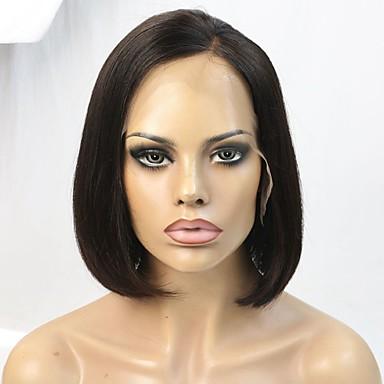 레미 헤어 전면 레이스 가발 직진 150 % 밀도 100% 핸드 타이드 흑인 가발 자연 헤어 라인 짧음 여성용 인모 레이스 가발