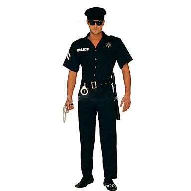 Policial Fantasias de Cosplay Festa a Fantasia Homens Dia Das Bruxas Carnaval Festival / Celebração Trajes da Noite das Bruxas Roupa Preto Sólido Moderno
