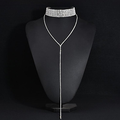 cheap Necklaces-Women's Choker Necklace Y Necklace Dangling Alloy Silver Necklace Jewelry For Wedding Party Anniversary Business Engagement Daily / Valentine