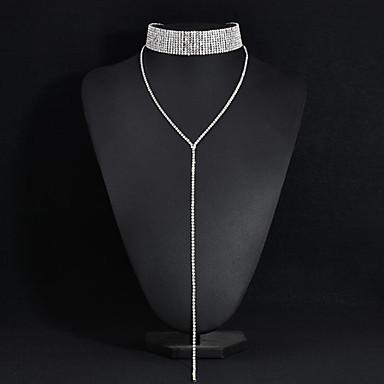 ieftine Coliere-Pentru femei Coliere Choker Y Colier Stil Atârnat Aliaj Argintiu Coliere Bijuterii Pentru Nuntă Petrecere Aniversare Afaceri Logodnă Zilnic / aleasă a inimii
