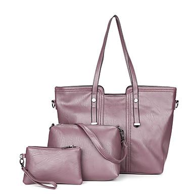 للمرأة أكياس PU مجموعات حقيبة 3 قطع محفظة مجموعة أسود / أحمر / أرجواني