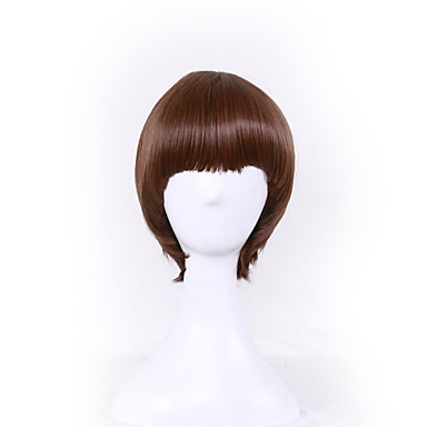 Synthetic Wig Straight Asymmetrical Haircut Synthetic Hair Natural Hairline Black / Brown Wig Women's Short Capless