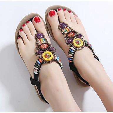여성 샌들 컴포트 여름 PU 캐쥬얼 플랫 블랙 블루 핑크 플랫
