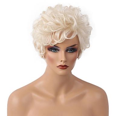 저렴한 가발 & 헤어 연장-인간의 머리카락없는 Capless 가발 인모 곱슬한 / 클래식 짧은 머리 형 2019 년 스타일 기계 제작 가발 일상 / 컬리