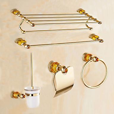 Jogo de Acessórios para Banheiro Moderna Latão 5pçs - Banho do hotel Suporte de Escova de Banheiro anel de torre barra da torre Suportes