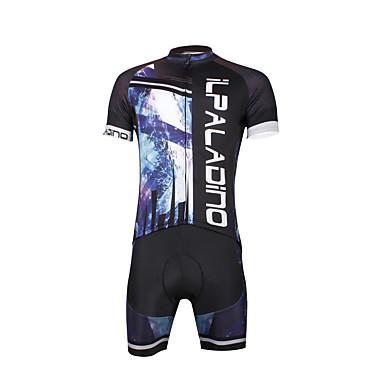 ILPALADINO Homens Manga Curta Camisa com Shorts para Ciclismo - Preto Caveiras Moto Conjuntos de Roupas, Tapete 3D, Secagem Rápida,
