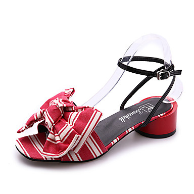 Dámské Boty PU Léto Pohodlné Sandály Chůze Kačenka Otevřený palec Květiny Černá / Červená / Modrá