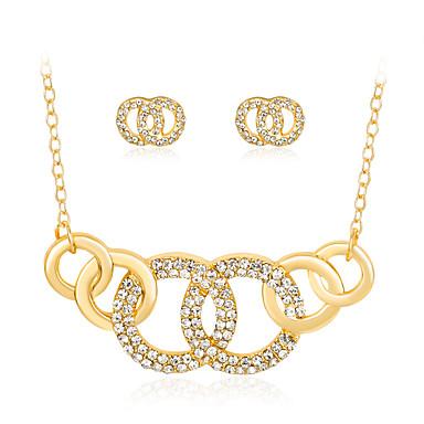 여성용 보석 세트 목걸이 패션 Euramerican 라인석 합금 Geometric Shape 드롭 1 목걸이 1 쌍의 귀걸이 제품 결혼식 파티 특별한 때 생일 약혼 일상 결혼 선물