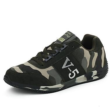 Homens Sapatos Confortáveis Couro Ecológico Primavera / Outono Tênis Corrida Verde Tropa / Cadarço