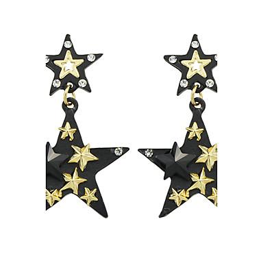 Mulheres Brincos Compridos - Estrela Básico Dourado / Preto Para Casual