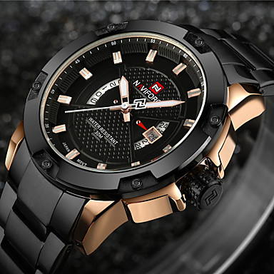 cheap Big Face Watches-NAVIFORCE Men's Sport Watch Military Watch Wrist Watch Japanese Quartz Stainless Steel Black / Silver 30 m Water Resistant / Waterproof Calendar / date / day Creative Analog - Digital Charm Luxury