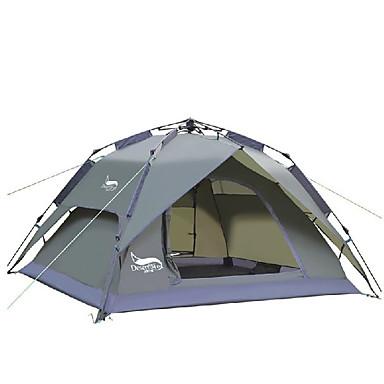 billige Telt og ly-DesertFox® 3 person Telt Utendørs Vanntett, Regn-sikker Dobbelt Lagdelt camping Tent 2000-3000 mm til Camping Oxford 180*210*118 cm
