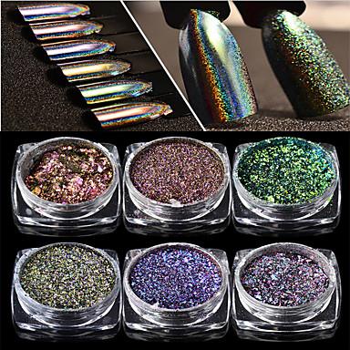 voordelige Nagelgereedschap & Apparatuur-1pc Schitteren Nail Art-formulieren Voor Duurzaam / 6 kleuren Nagel kunst Manicure pedicure kiiltää / Gepersonaliseerde