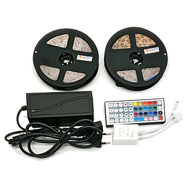 Z®zdm waterdicht 2 x 5m 300x3528 smd rgb led strip licht en 44key afstandsbediening 6a eu / au / us / uk voeding (ac110-240v)