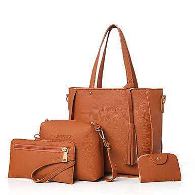 Women s Bags PU(Polyurethane) Bag Set 4 Pieces Purse Set Solid Colored  Blushing Pink   Gray   Brown   Bag Sets babec38901c9b