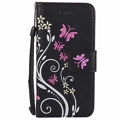 Capinha Para Apple iPhone 7 Plus iPhone 7 Porta-Cartão Carteira Com Suporte Flip Com Relevo Capa Proteção Completa Flor Rígida PU Leather