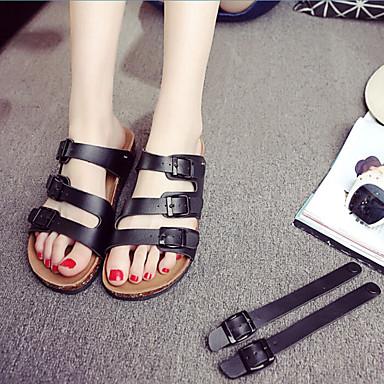 여성 구두 PU 여름 슬링백 샌들 청키 굽 제품 캐쥬얼 화이트 블랙 브라운