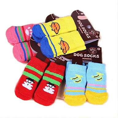 Katze Hund Socken Niedlich Lässig/Alltäglich warm halten Cartoon Design Weiß/Weiß Hellgrau Zufällige Farben schwarz + schwarz Hellblau