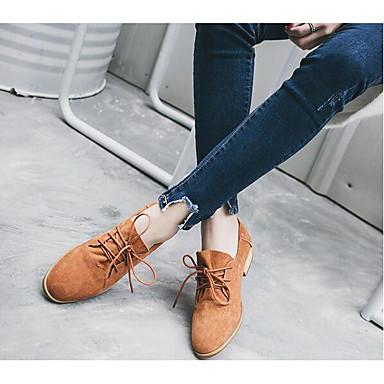 여성 구두 가죽 야광 신발 힐 낮은 굽 제품 캐쥬얼 아미 그린 밝은 브라운