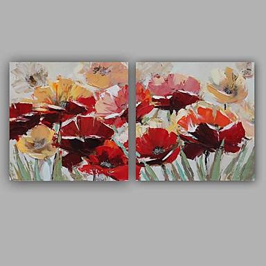 Pintura a Óleo Pintados à mão - Floral / Botânico Clássico / Modern Tela de pintura / Lona esticada