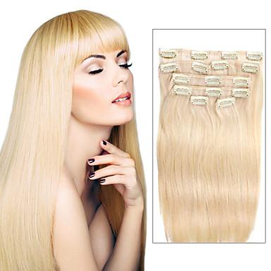 7 stk / set farge 613 stranden blonde gull hår klippet i hair extensions 14 tommers 18 tommer 100% menneskehår