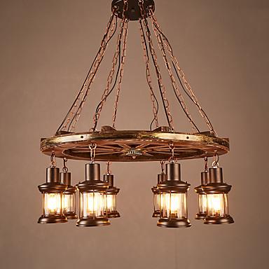8-Light Industriell Anheng Lys Nedlys Malte Finishes Tre / Bambus Glass Mini Stil 110-120V / 220-240V Pære ikke Inkludert / E26 / E27
