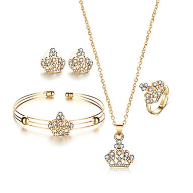 Mulheres Cristal Gema Cristal Formato Coroa Conjunto de jóias 1 Colar 1 Par de Brincos 1 Bracelete 1 Anél - Luxo Pingente Rhinestone