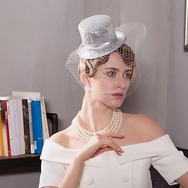 تول / ألياف الكتان قطع زينة الرأس / قبعات / غطاء شفاف للوجه مع 1 زفاف / مناسبة خاصة / فضفاض خوذة