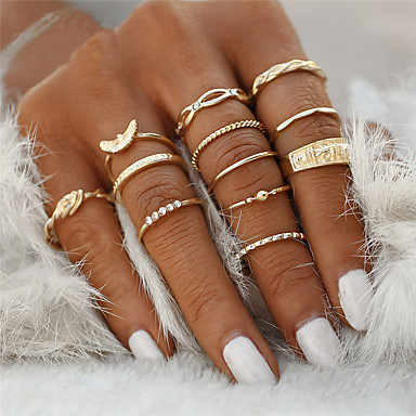cheap Rings-Women's Ring Rings Set Rhinestone Princess Animal Bowknot Ladies Unusual Geometric Unique Design Classic Vintage Ring Jewelry Gold For Christmas Gifts Wedding Party Special Occasion Halloween / 12pcs