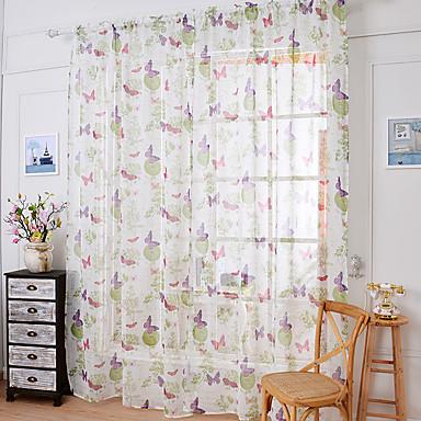 Um Painel Tratamento janela Regional, Estampado Flor Quarto Mistura de Linho e Poliéster Material Sheer Curtains Shades Decoração para
