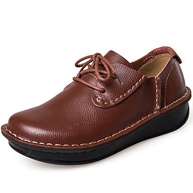 Mulheres Sapatos Pele Napa Inverno Outono Gladiador Oxfords para Casual Social Festas & Noite Ao ar livre Escritório e Carreira Preto