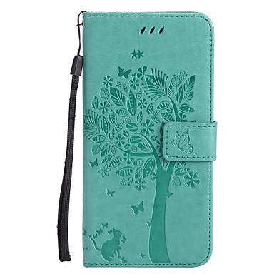 Capinha Para Apple iPhone X iPhone 8 Porta-Cartão Carteira Com Suporte Flip Estampada Com Relevo Capa Proteção Completa Gato Árvore Rígida