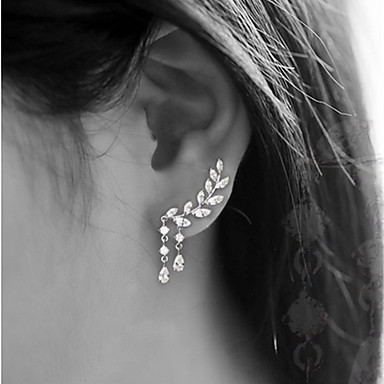 8c9830b5a Women's Cubic Zirconia Stud Earrings Ear Climbers Climber Earrings Earrings  Leaf Drop Cheap Ladies Simple Tassel Elegant Bling Bling everyday Jewelry  Gold ...