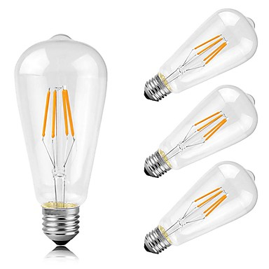 4PCS 4W 400lm E26 / E27 مصابيحLED ST64 4 الخرز LED COB ديكور أبيض دافئ 220-240V