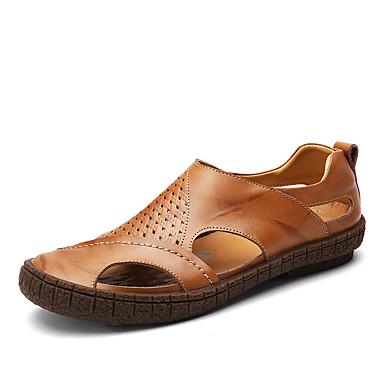 Herre sko Lær Vår Høst Komfort Sandaler Prikkete til Avslappet Kontor og karriere utendørs Svart Brun