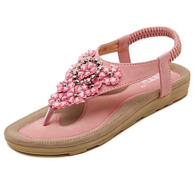 povoljno Ženske cipele-Žene Sandale Ravna potpetica Okrugli Toe Štras / Aplikacije / Cvijet Mikrovlakana Udobne cipele / Svjetleće tenisice Hodanje Proljeće / Ljeto Crn / Pink / Badem / EU41