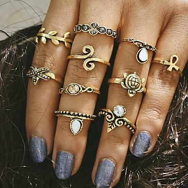 Χαμηλού Κόστους Μοδάτο Δαχτυλίδι-Γυναικεία Δαχτυλίδι Κράμα κυρίες Unusual Μοναδικό Βίντατζ Μοντέρνα Μοδάτο Δαχτυλίδι Κοσμήματα Χρυσό / Ασημί Για Γάμου Πάρτι Καθημερινά Causal Ένα Μέγεθος 10pcs