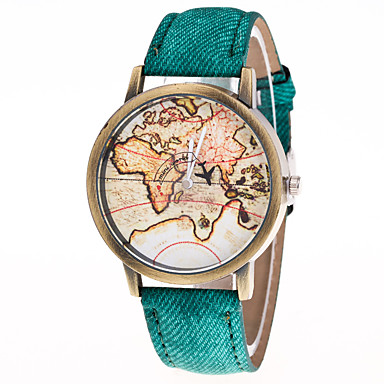 cheap Women's Watches-Men's Women's Fashion Watch World Map Quartz Leather Black / White / Blue Casual Watch Analog Vintage World Map - Green Blue Pink