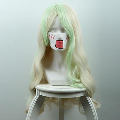 الاصطناعية الباروكات نسائي مموج شعر مستعار صناعي شعر مستعار طويل دون غطاء أخضر