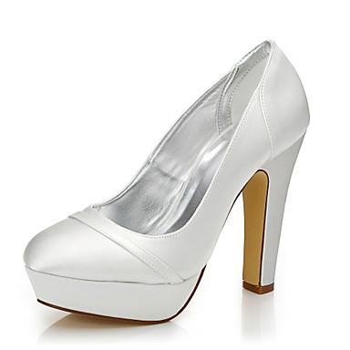 14b99c034f7 Mujer Tacones Dyeable Zapatos De La Boda Tacón Cuadrado Dedo redondo /  Punta cerrada Seda Confort / Zapatos Dyeable Otoño / Invierno Marfil /  Fiesta y Noche ...
