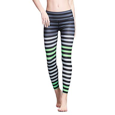 Mulheres Calças de Yoga Esportes Riscas, Moderno Meia-calça / Leggings Corrida, Fitness, Ginásio Roupas Esportivas Secagem Rápida, Respirável, Power Flex Elasticidade Alta